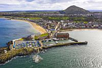 Aerial view of harbour and town of North Berwick in East Lothian, Scotland, UK.