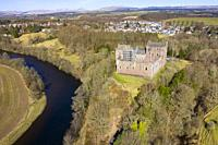 Aerial view of Doune Castle above River Teith near Doune, Stirling District, Central, Scotland, UK.