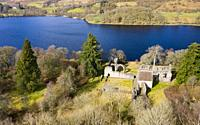 Inchmahome Priory is situated on Inchmahome, the largest of three islands in the centre of Lake of Menteith, Scotland UK.