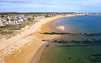 Aerial view of beach at Earlsferry and Elie on the East Neuk of Fife, in Scotland, UK.
