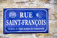 France, Nouvelle Aquitaine, Gironde, sign of a street at Bordeaux. Pligrimage way to Saantiago de Compostela,