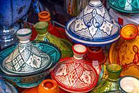 Morocco, Handicraft, ceramic plates. Tagine plates.