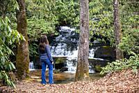 Young woman looking at cascade on Catheys Creek - near Brevard, North Carolina, USA.