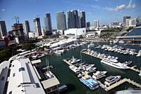 Panoramic view of Downtown Miami, Florida, USA. It is also known as Downtown Miami; it is a downtown located around the Financial District of Miami, F...