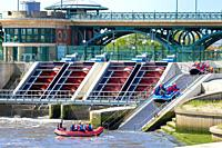archimedes canoeing course international on river screw Stockton Tees, Tees Barrage International White Water Course, UK.