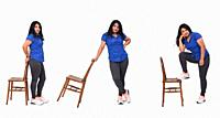 Collage of same woman playing with a chair in white background.