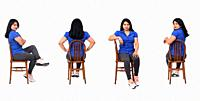 same woman of back, front and side with jeans shirt and snickers sitting on chair on white background.