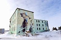 Polar bear painting on ancient building, Churchill, Manitaba, Canada.