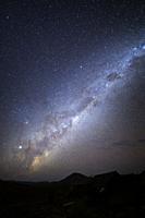 Nightsky with milky way over Namibian desert, Damaraland, Namibia.