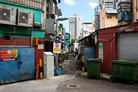 Singapore, Republic of Singapore, Asia - View into a narrow and quiet side street in Little India city district.