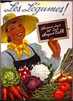 Dietary advice that still lasts, anonymous poster from 1941 promoting eating healthy vegetables with slogan - 'Les légumes ! Chaque jour et sur chaque...