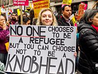 London. 18th March, 2017. A march organised by Stand Up to Racism against racism and the Muslim ban in the USA. It started in Portland place and ended...