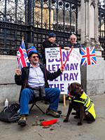 London 15 January 2019 - Pro and Anti Brexit vigil outside parliament - London, England.
