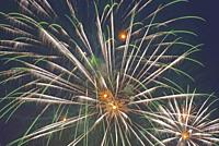 Firework, Rhine meadows, Funfair, sommer time, amusement, TV tower.