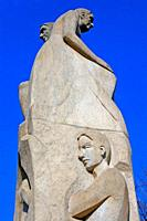 faces and busts of the sculpture ´A la vellesa´ by Ramon Casellas Albert, 1979, Girona, Catalonia, Spain