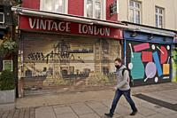 Shops, pubs and clubs in the world famous Camden Market closed, with some for sale and to let due to lockdown Covid-19/Coronavirus pandemia restrictio...