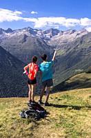 Hikers, Superbagnères, Bagnères-de-Luchon, Haute-Garonne department, Occitanie, France.
