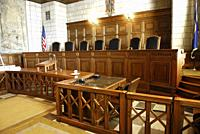 The State Supreme Court Bench inside the The State Capitol Building Lincoln Nebraska NE.