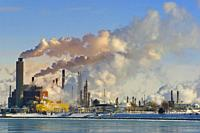 Air Pollution from Chemical Industry on the St. Clair River at Port Huron, Michigan.