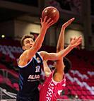 Bonn, Germany, 04.04.2021, Telekom Dome, Basketball Bundesliga, Telekom Baskets Bonn vs Alba Berlin, Tim Schneider (Alba) und Gabriel de Oliveira (Bon...