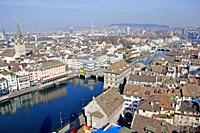 Panoramic view from the Grossminster-Tower to the old town of Zürich.