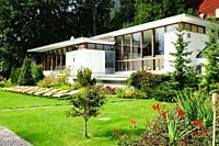 Switzerland: The Garden of the Parkhotel Bellevue in Adelboden in the Bernese Oberland.