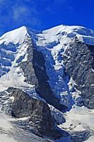 Swiss alps: The Piz Buin glacier at Bernina group mountains near Pontresina in the upper Engadin.