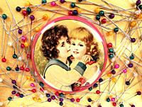 Drawing of a boy kissing a blonde girl surrounded by brightly colored pins on golden background.