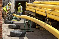 Detroit, Michigan - Workers for DTE Energy replace the original cast iron natural gas mains in the Morningside neighborhood.
