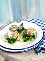 clams in cava with spinach, garlic and parsley.