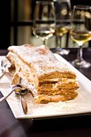 millefeuille with cream.