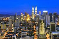 Kuala Lumpur at Night, Malaysia.