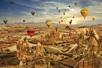 Hot Air Balloons at Sunrise, Cappadocia, Turkey.