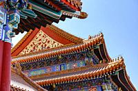 Rooftops and eaves on palace buildings at the Forbidden City in Beijing, China in March 2018.