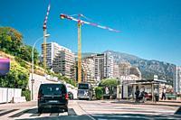 Monte-Carlo, Monaco Construction of residential buildings in Monaco, Monte Carlo.