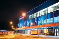 Parnu, Estonia Night View Of Port Artur shopping centre in Christmas Xmas New Year Illuminations Decorations.
