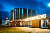 Parnu, Estonia -Building Of Parnu Concert Hall In Evening Or Night Illuminations.