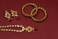 Indian jewellery accessories on background, kundan necklace set, Indian Traditional Gold Jewellery, Indian wedding jewellery