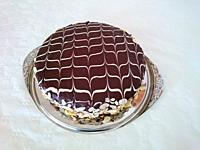 A cake with chocolate coating and lattice pattern of sugar icing.