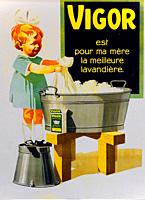 Advertising vintage poster - Vigor Swiss washing powder, children are very often represented in advertising in the past. For household products, they ...