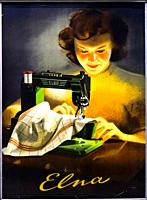Anonymous poster from 1946 titlled 'Elna'. Elna is Swiss brand of sewing machine, founded in 1934 in Meyrin in canton Geneva, their former models are ...