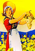 Poster by Edouard Elzingre, La Genevoise, Vin blanc de Geneve, ca 1935, promotion of local white wines from Geneva region. Bibliothèque de Genève - Ge...
