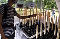 Offering with candles, Sanctuary of Lourdes, Lourdes, Hautes-Pyrenees department, Occitanie, France.