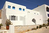 Whitewashed Cycladic house at the town center, Naoussa, Paros Island, Cyclades Islands, Greek Islands, Greece, Europe.
