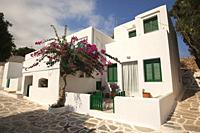 Whitewashed Cycladic house at the old town Chora or Chorio, Sikinos Island, Cyclades Islands, Greek Islands, Greece, Europe.