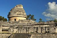 View to the Observatory-El Caracol at the Prehispanic Mayan Archaeological Site Chichen Itza in the Puuc Route, Yucatan State, Mexico, Central America...