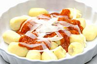 gnocchi with tomato sauce and parmesan cheese.
