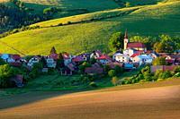 Turcianske Jaseno and the rural landscape ot Turiec basin, Slovakia. .