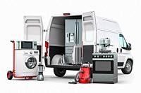 Buying and delivery household appliances concept. Delivery van with kitchen technics isolated on white. 3d illustration.