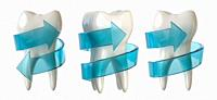 Tooth protection concept. Tooth with blue spiral arrow isolated on white. 3d illustration.
